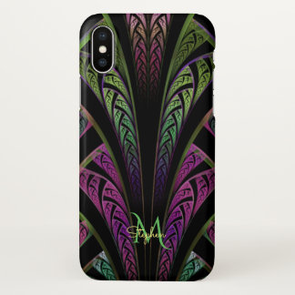 Monogram Purple Green Fractal iPhone X Case