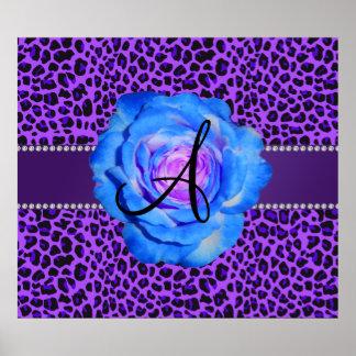 Monogram purple leopard blue rose poster
