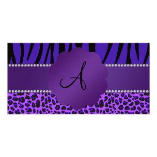 Monogram purple leopard zebra pattern customized photo card