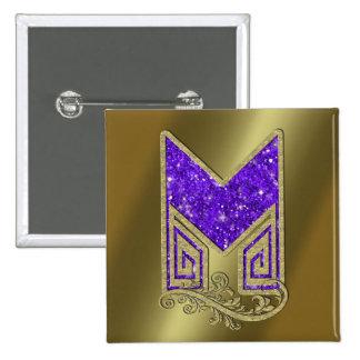 Monogram Purple M 15 Cm Square Badge