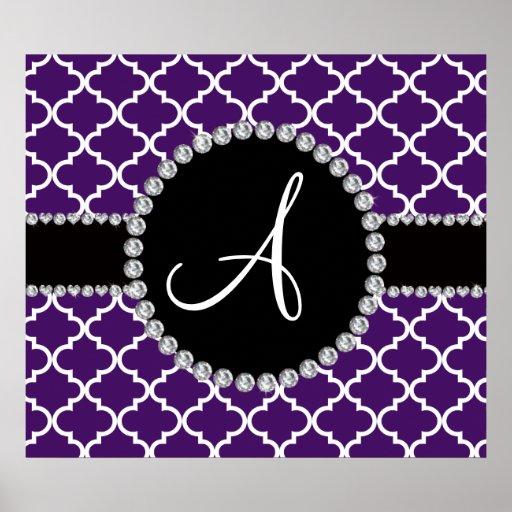 Monogram purple moroccan quatrefoil print
