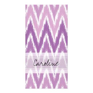 Monogram Purple Ombre Ikat Chevron Zig Zag Pattern Photo Card Template
