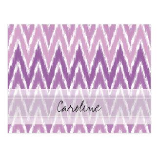 Monogram Purple Ombre Ikat Chevron Zig Zag Pattern Postcard