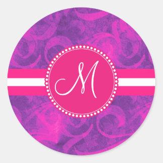 Monogram Purple Pink Floral Swirl Flourish Pattern Round Sticker