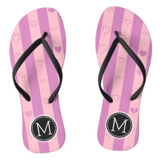 Monogram Purple Pink Stripes Modern Heart Pattern Thongs