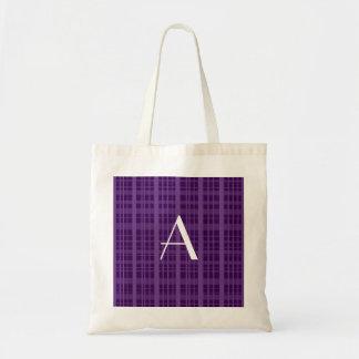 Monogram purple plaid budget tote bag