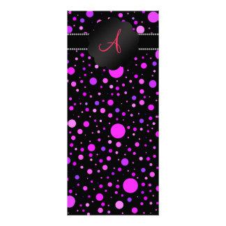 Monogram purple polka dots full color rack card