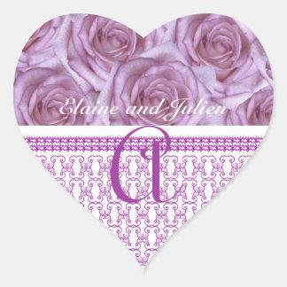 Monogram  Purple Roses Letter A  Sticker