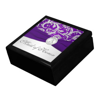 Monogram Purple, Silver Damask MOH Trinket Box