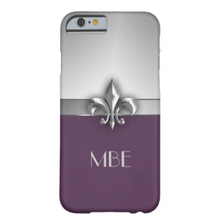 Monogram Purple Silver Faux Metal Fleur de Lis Barely There iPhone 6 Case