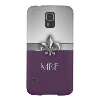 Monogram Purple Silver Faux Metal Fleur de Lis Case For Galaxy S5