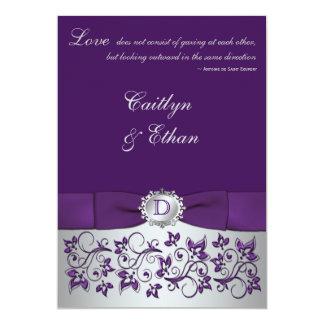Nice Monogram Purple, Silver Floral Wedding Invitation Awesome Design
