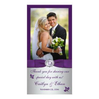 Monogram Purple, Silver Floral Wedding Photo Card