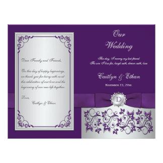 Monogram Purple, Silver Floral Wedding Program 2 21.5 Cm X 28 Cm Flyer