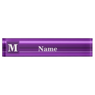 Monogram purple stripes nameplate