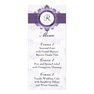 monogram purple wedding menu personalised rack card