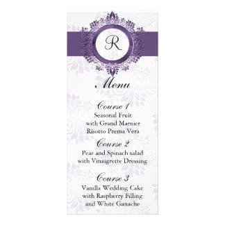 monogram purple wedding menu rack card template
