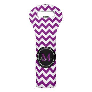 Monogram Purple White Abstract Chevron Wine Bag