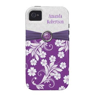 Monogram Purple white floral swirls iPhone 4 Cases