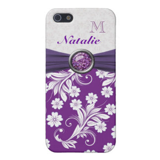 Monogram Purple white floral swirls Speck Case iPhone 5/5S Covers