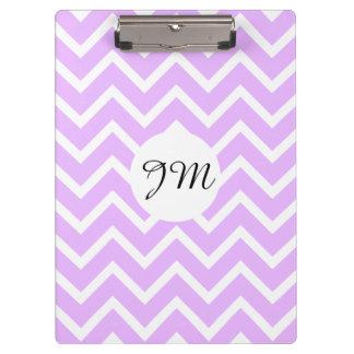 Monogram purple white pattern   Personalise Clipboard