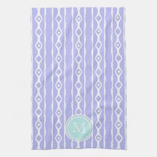 Monogram: Purple White Stripes Towel
