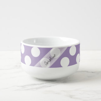 Monogram Purple White Trendy Fun Polka Dot Pattern Soup Mug