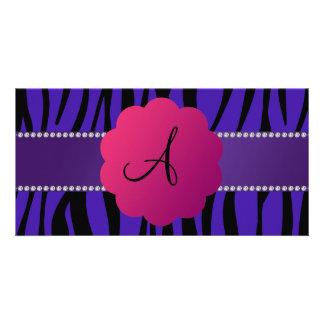 Monogram purple zebra stripes personalised photo card