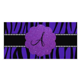 Monogram purple zebra stripes photo card