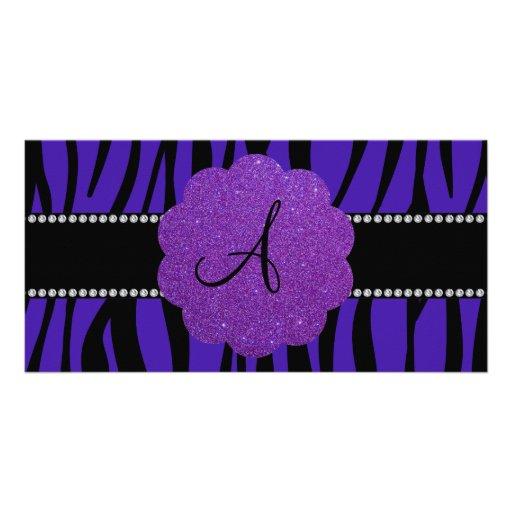 Monogram purple zebra stripes picture card