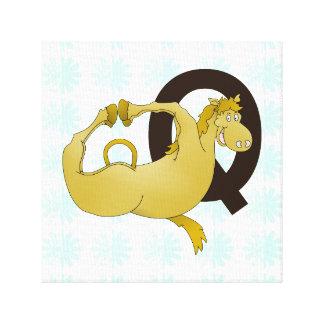 Monogram Q Cartoon Pony Customized Canvas Prints
