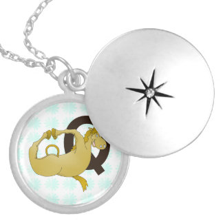 Monogram Q Cartoon Pony Customized Round Locket Necklace
