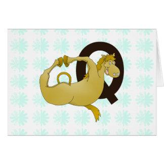 Monogram Q Cartoon Pony Personalized Greeting Card