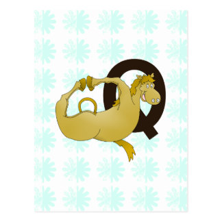 Monogram Q Cartoon Pony Personalized Postcard