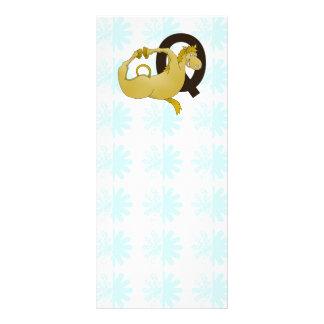 Monogram Q Cartoon Pony Personalized Rack Card