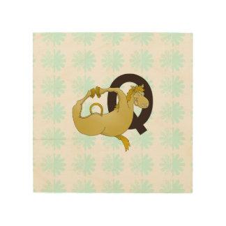 Monogram Q Funny Pony Personalized Wood Canvas