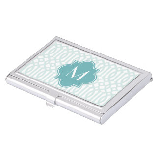Monogram Quatrefoil Business Card Case