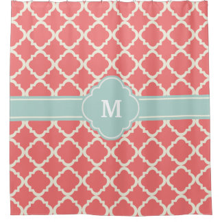 Monogram Quatrefoil Coral Mint Pattern Shower Curtain