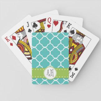 Monogram - Quatrefoil Shape - Blue White Card Deck