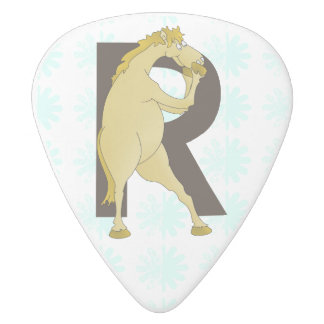 Monogram R Agile Pony Personalised White Delrin Guitar Pick