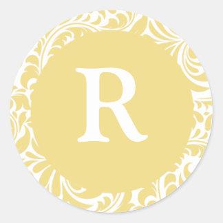 Monogram R Antique Gold Wedding Monograms Envelope Classic Round Sticker