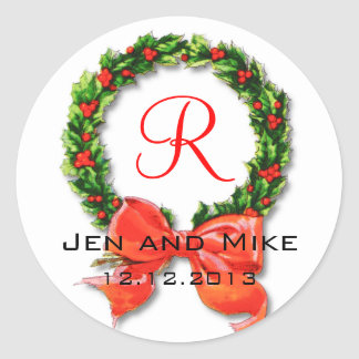 Monogram R Bow Winter Wedding Sticker