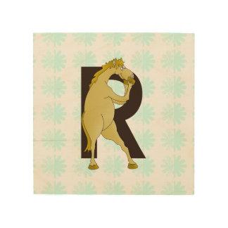 Monogram R Cartoon Pony Customized Wood Prints