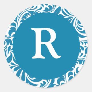 Monogram R Cerulean Wedding Monograms Invitation S Classic Round Sticker