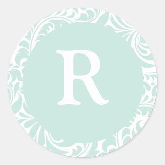Monogram R Dusty Aqua Custom Seals Stickers For We