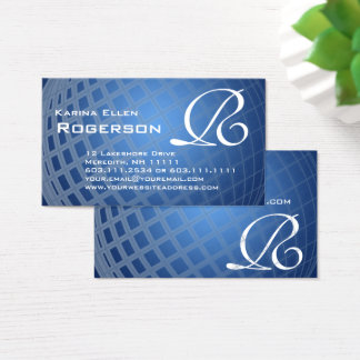 Monogram R Elegant Blue International Globe Business Card