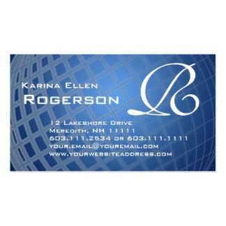Monogram R Elegant Blue International Globe Pack Of Standard Business Cards