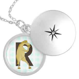 Monogram R Funny Pony Personalised Round Locket Necklace