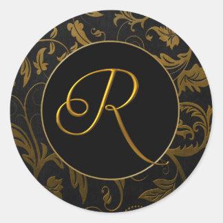 Monogram R Gold and Black Damask Wedding Seal