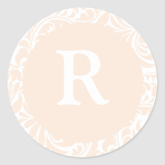 Monogram R Ivory Color Stickers For Wedding Monogr